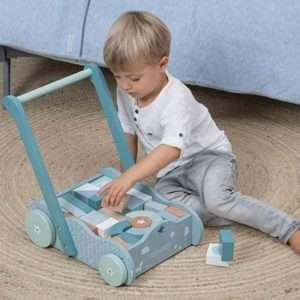 Chariot à blocs bleu – Little Dutch