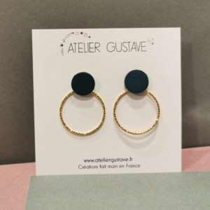 Boucle d'oreilles Jeanne Bleu canard – Atelier Gustave