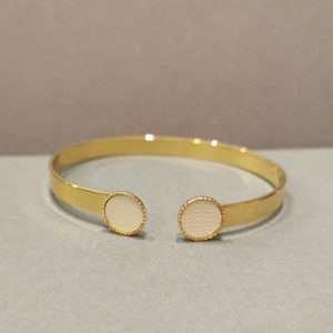 Bracelet jonc ajustable Marie crème- Atelier Gustave