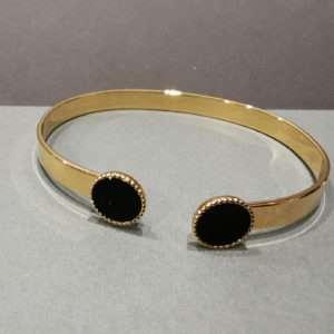 Bracelet jonc ajustable Marie Noir – Atelier Gustave