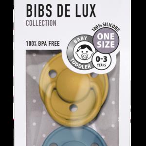 Pack de 2 sucettes De Lux Moutarde Bleu Pétrole – Bibs