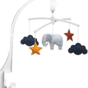 Mobile musical Eléphant gris Confettis – Pouce Et Lina