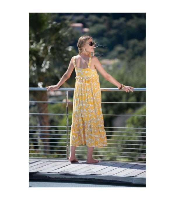 robe de grossesse longue imprimé fleuri jaune Balloon