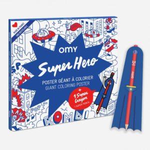 Poster à colorier Super Héro + crayon – OMY