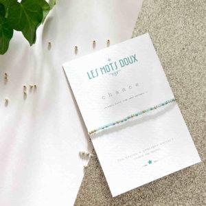 Bracelet message Chance Vert d'eau – Les Mots Doux