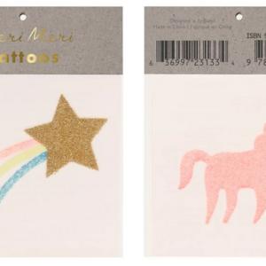 2 planches de tatouages étoile et licorne paillettes – Meri Meri